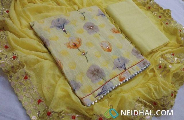 Designer Yellow Pure Slub Cotton unstitched salwar material(requires lining) with Floral digital prints and foil mirror work, Cotton bottom, Chiffon dupatta with designer gotta and emboridery work