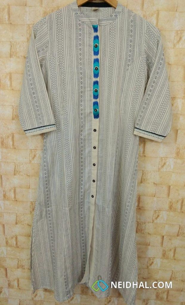 Designer Printed Cream Cotton Kurti (Refer Size chart, 2nd pic before ordering, No Refund, No Return, No exchange, No cancellation), Mandari collar, Height-46, 3/4 sleeves, Pockets on one side.