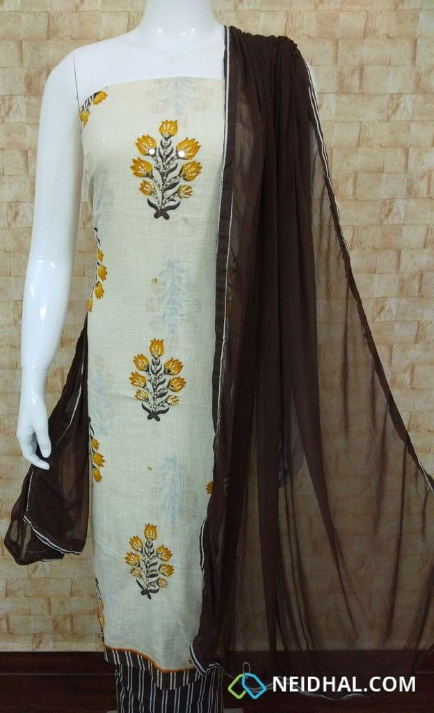 Printed Half White Slub Cotton unstitched salwar material(requires lining) Pearl bead and foil mirror work on front side, daman patch, striped brown cotton bottom, Printed  brown chiffon dupatta with tappings.