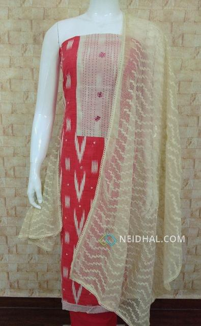 Printed Dark Peach Slub cotton unstitched salwar material(requires lining) with foil and stem stiched work on yoke, foild mirror work on front side, daman patch, Peach cotton bottom, Kora dupatta with thread work and lace taping