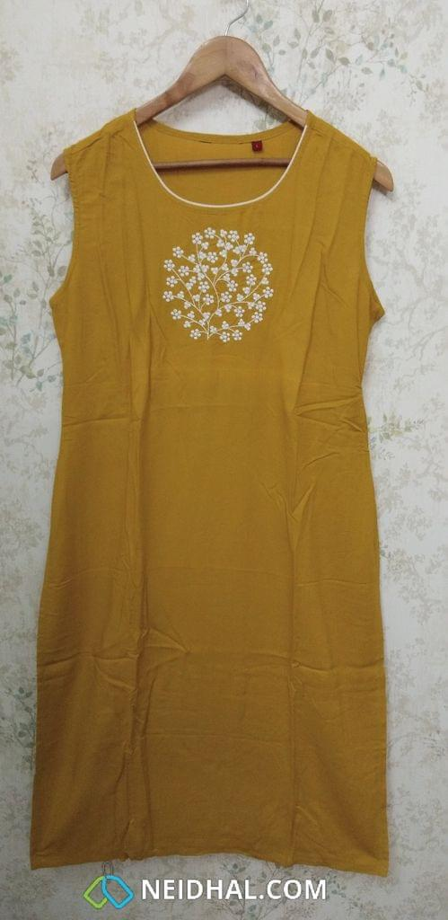 Fenu Greek Yellow Modal Fabric Kurti with thread embroidery on yoke(Refer Size chart, 2nd pic before ordering, No Refund, No Return, No exchange, No cancellation), Round neck, Height 43, Short Sleeves attached, side slit