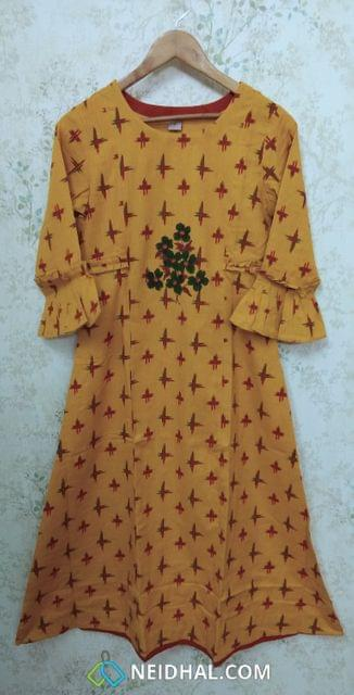 Designer Yellow Printed Cotton Kurti with Golden Prints, front placket(Refer Size chart, 2nd pic before ordering, No Refund, No Return, No exchange, No cancellation), Round Neck, Height - 47, 3/4 bell Sleeves, A line.