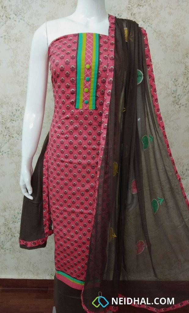 Pink Mughal printed soft cotton unstitched salwar material with colorful buttons, brown cotton bottom, colorful cross stich work on chiffon dupatta with taping