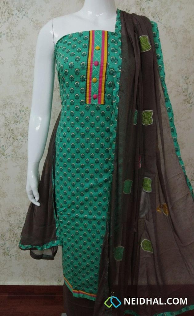 Turquoise Green mughal printed soft cotton unstitched salwar material with colorful buttons, brown cotton bottom, colorful cross stich work on chiffon dupatta with taping