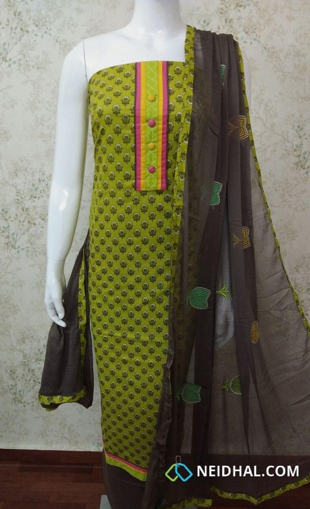 Mehandhi Green mughal printed soft cotton unstitched salwar material with colorful buttons, brown cotton bottom, colorful cross stich work on chiffon dupatta with taping
