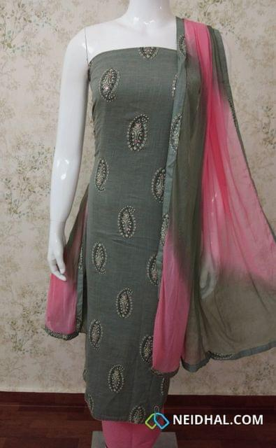 Printed Greish Green Slub cotton Unstitched salwar material sequence and foil mirror work on front side, pink cotton bottom, dual color chiffon dupatta with tapings.