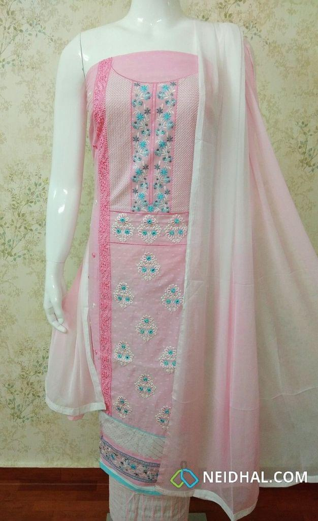 Designer Pink Cotton Unstitched salwar material with Hevy Thread Embroidery and foil mirror work, daman patch,Embroidery work on white cotton bottom, Dual Color pure soft chiffon dupatta with tappings.