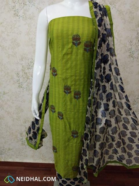 Designer Green Silk Cotton Unstitched salwar material with bead  hand work on front side, Printed cotton bottom, Printed pure chiffon dupatta with tapings.