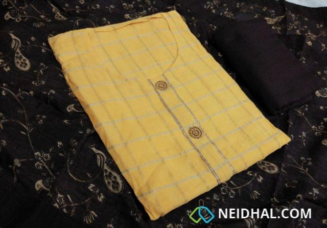 Designer Yellow Soft Chanderi unstiched Salwar material(requires lining) with Designer bead button, brown cotton bottom, Printed Designer Brown Silk dupatta with taping