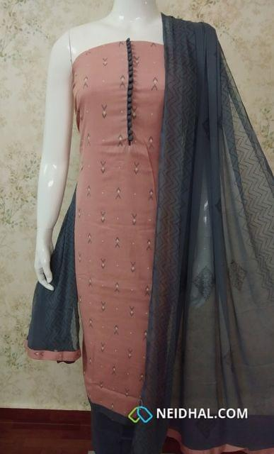 Printed Peach Jute Flex unstitched salwar material with foil mirror  work on yoke, daman patch, grey cotton bottom, printed grey chiffon dupatta with tapings.