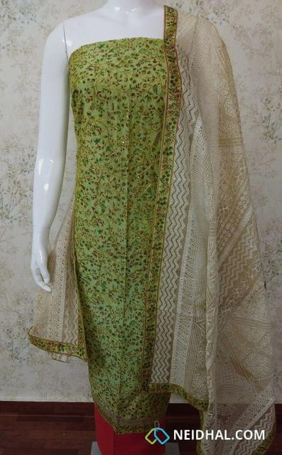 Designer Pista Green Chanderi unstitched Salwar Material(requires lining) with Digital print, thread work, sequins work,  Daman patch, Pink cotton bottom, Heavy work on Kora dupatta with taping