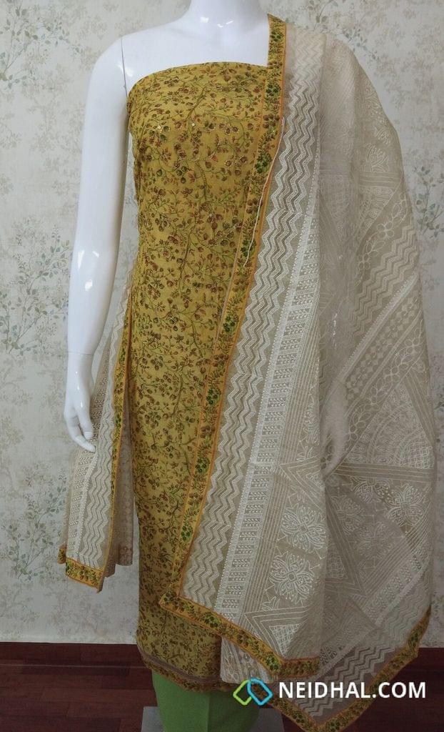 Designer Yellow Chanderi unstitched Salwar Material(requires lining) with Digital print, thread work, sequins work,  Daman patch, Green cotton bottom, Heavy work on Kora dupatta with taping