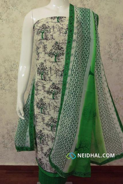 Printed Half white Slub Cotton unstitched salwar material with foil mirror and thread work, daman patch,  printed green cotton bottom,  printed dual color chiffon dupatta with tappings