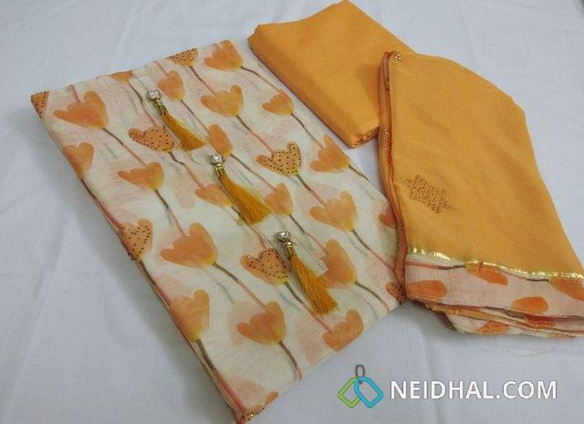 Designer Cream Chanderi Unstitched salwar material(requires lining) with digital prints with mini stone works, fancy button tassels, Orange Cotton bottom, golden dew drop work on chiffon dupatta with taping.