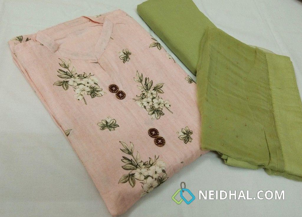 Designer Floral Printed Light Pink pure Pashmina Linen unstithced slawar Material(requires lining) with Neck Stitch, pure drum dyed green cotton bottom, Golden Dew drpos on short width green pure chiffon dupatta with tapings