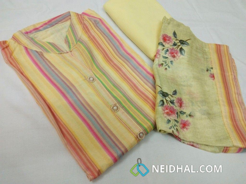 Designer Multicolor Masleen Silk Semi Stitched Salwar Material(requires lining) with neck stitch, fancy buttons on yoke, yellow cotton bottom, floral printed yellow short width Masleen Silk Dupatta with tapings