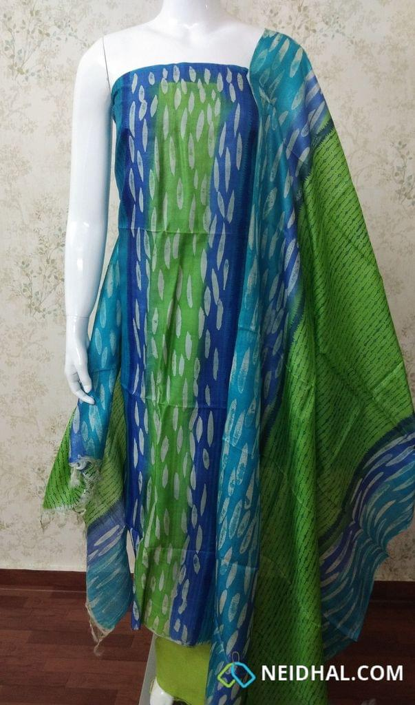 Designer Block Printed Blue Silk Mark Pure Tussar Silk Unstitched Salwar Material(requires lining) (top 2.5 meters), green silk cotton bottom, printed pure tussar silk dupatta.(requires tapings)(dupatta 2.5 meters)