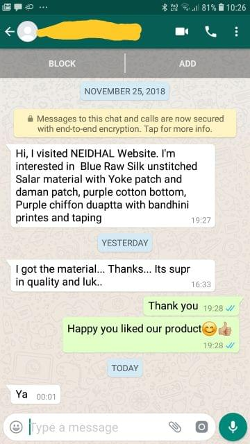 I got the Material. Thanks. Its Super in Quality and Luk  - Reviewed on 01-Dec-2018