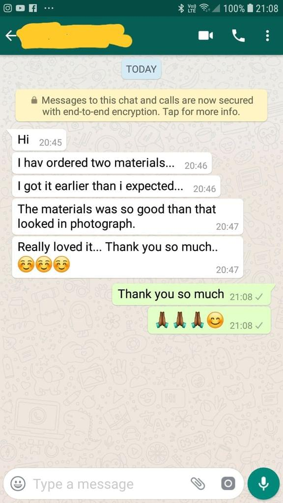 Ordered two materials i got it earlier than expected. The material was so good than that looked in photograph. Really loved it. Thank you so much - Reviewed on 01-Dec-2018