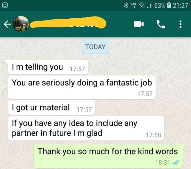 I got your material. If you have any idea to include any partner in future i am  glad. Thank you so much - Reviewed on 04-Dec-2018