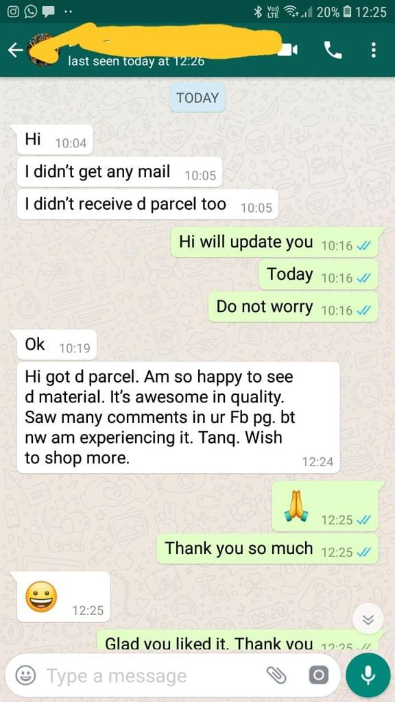 Am so happy to see d material. It's awesome in quality. Saw many comments in your fb page but now am experiencing it. Thank you. Wish to shop more.  - Reviewed on 06-Dec-2018