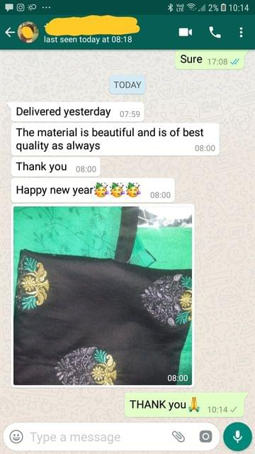 The material is beautiful and is of best quality as always. Thank you. Happy new year. - Reviewed on 01-Jan-2019