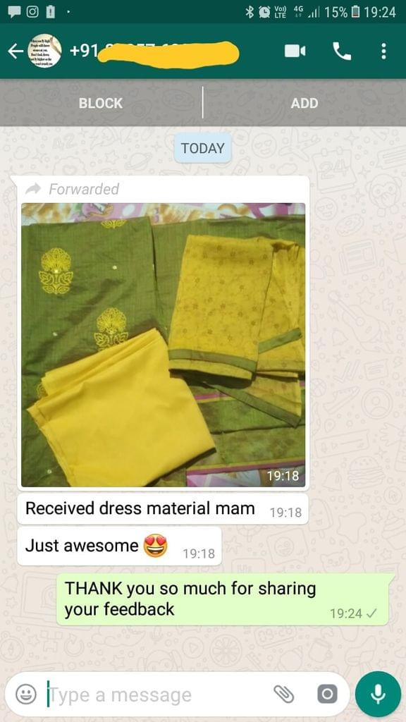 Received dress material mam. Just awesome. Very happy.  - Reviewed on 05-Jan-2019