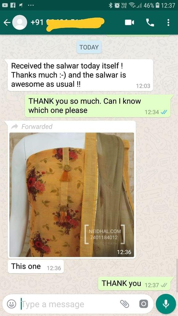 Received the salwar today itself ! Thank you so much. And the salwar is awesome as usual !!.  - Reviewed on 09-Jan-2019