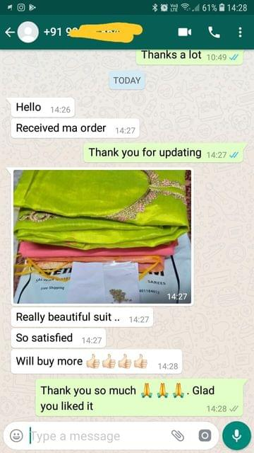 Received my order. Really beautiful suit.. So satisfied. Will buy more   - Reviewed on 16-Jan-2019