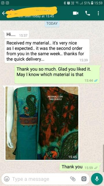 Received my material. Its very nice as i expected. It was second order from you in the same week. Thanks for the quick delivery   - Reviewed on 16-Jan-2019