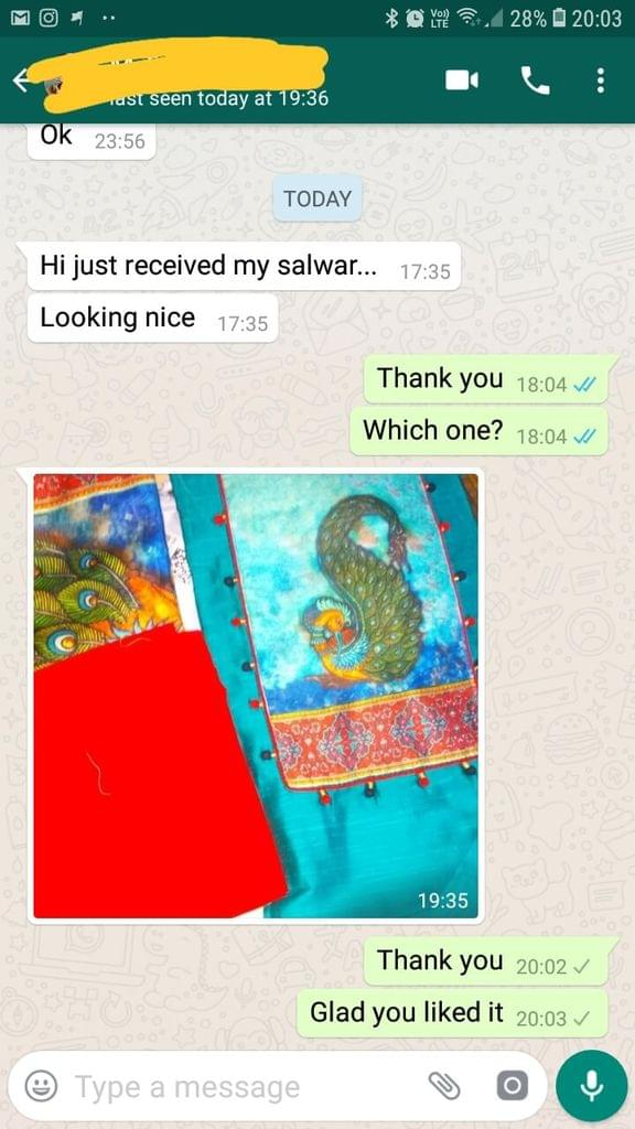 I just received my salwar.  Looking Nice....   - Reviewed on 18-Jan-2019