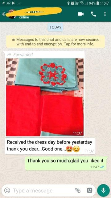 Received the dress day before yesterday.. Thank you ..  Good one.. Reviewed on 21-Jan-2019