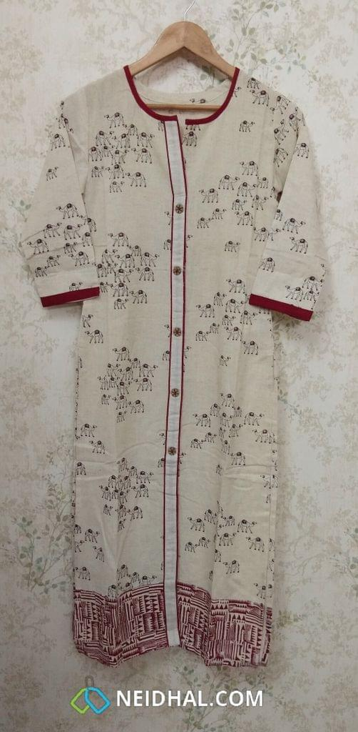 Printed Beige Jute Flex Kurti, front open placket (Refer Size chart, 2nd pic before ordering, No Refund, No Return, No exchange, No cancellation),Round neck, Height 45, 3/4 Sleeves, front and slide slits.