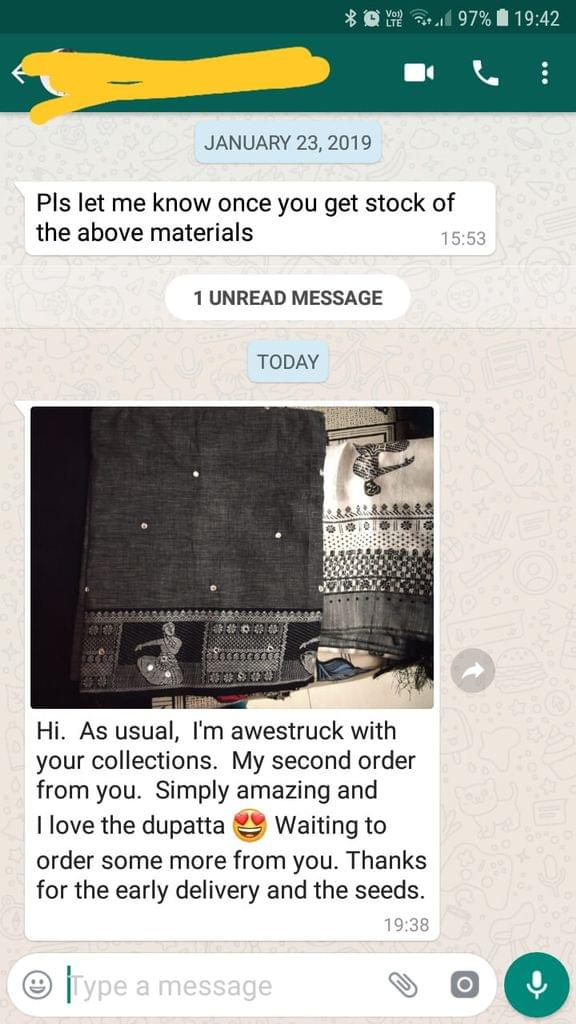 Please let me know once you get stock of the above materials.. As usual, I'am awestruck with you collections.. My second order form you.. Simply amazing.. I love the dupatta waiting to order some mare from you. Thanks for the early delivery and the seeds.. - Reviewed on 01-Feb-2019