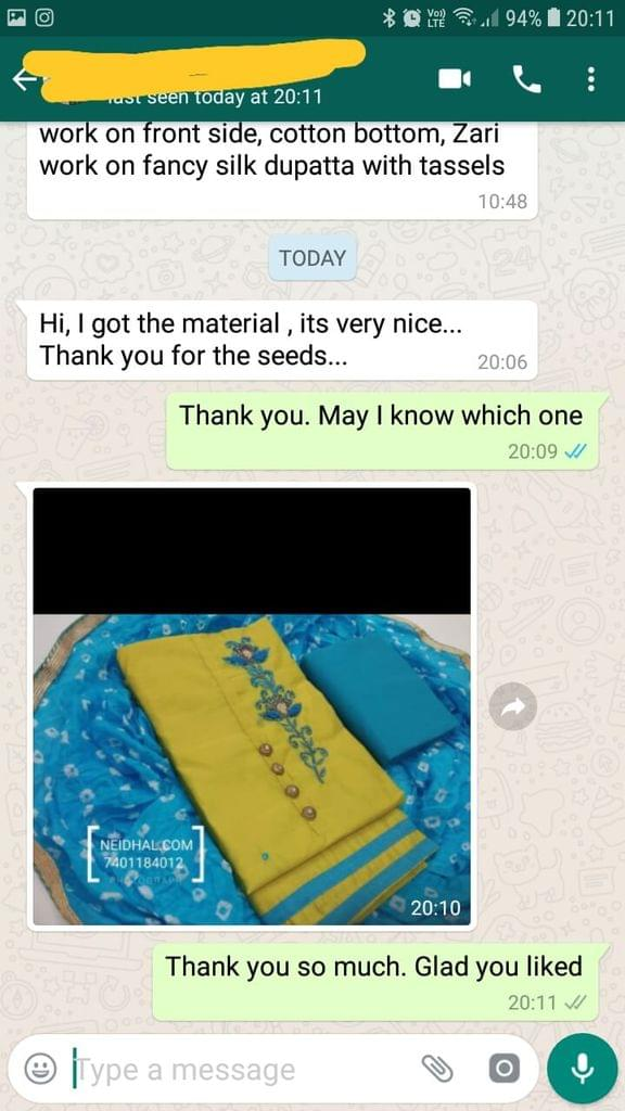 I got the material, It's very nice.. Thank you for the seeds.. - Reviewed on 01-Feb-2019
