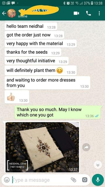 Got the order just now.. Very happy with the material.. Thanks for the seeds.. Very thoughtful initiative, Will definitely plant them, And waiting to order more dresses from you good.- Reviewed on 02-Feb-2019