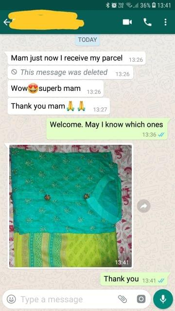 Mam just now i receive my parcel.. Wow!!!!.. superb mam.. Thank you mam.. - Reviewed on 02-Feb-2019