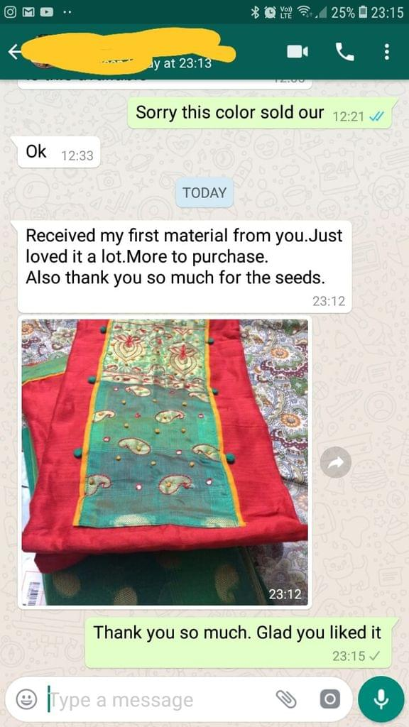 Received my first order material from you.. Just loved it a lot.. More to purchase.. Also thank you so much for the seeds. - Reviewed on 04-Feb-2019