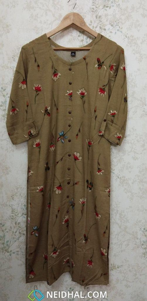Floral  Printed Dark Beige Modal fabric Kurti with close front placket  (Refer Size chart, 2nd pic before ordering, No Refund, No Return, No exchange, No cancellation), Round Neck, Height 44, 3/4 sleeves with flaps, front and side slits.