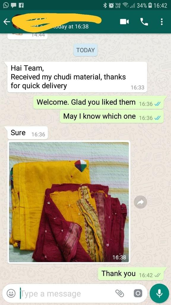 Received my chudi material.. Thanks for quick delivery. - Reviewed on 09-Feb-2019