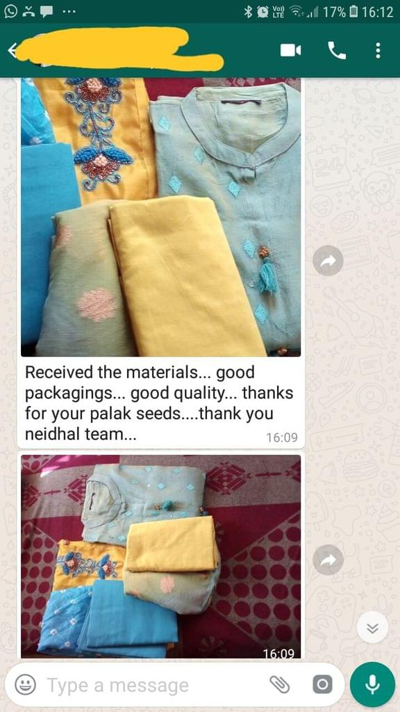 Received the materials... Good.. Packing.. Good quality.. Thanks for your palak seeds.. Thank you, Neidhal team.  - Reviewed on 11-Feb-2019