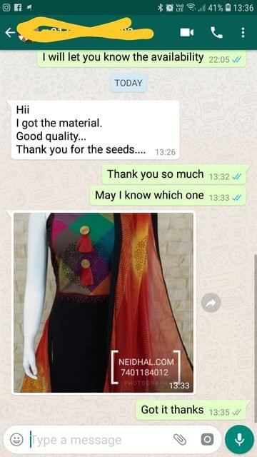 I got the material... Good quality.... Thank you for the seeds. - Reviewed on 12-Feb-2019