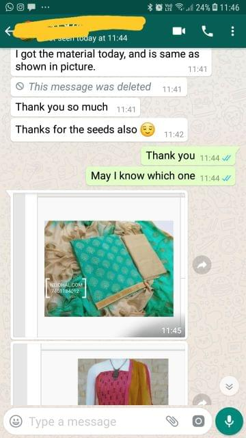 I got the material today, And is same as shown in picture.. Thank you so much... Thanks for the seeds also. - Reviewed on 13-Feb-2019