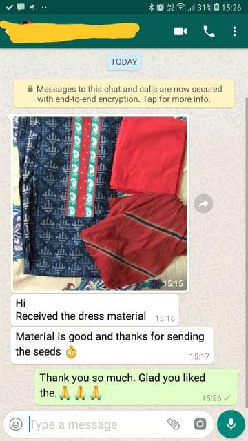 Received the dress material.. Material is good, And thanks for sending the seeds.. Super. - Reviewed on 14-Feb-2019