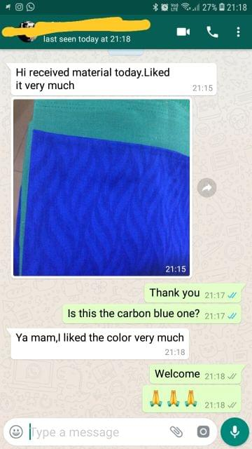 Received material today.. liked it very so much... I liked the color very nice.  - Reviewed on 14-Feb-2019
