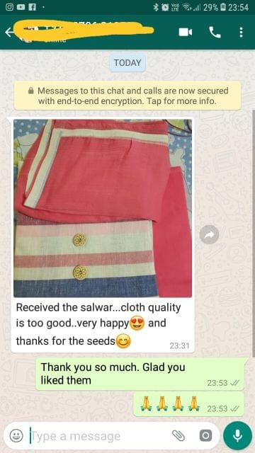Received the salwar... Cloth quality is too good... Very happy... Thanks for the seeds.  - Reviewed on 25-Feb-2019