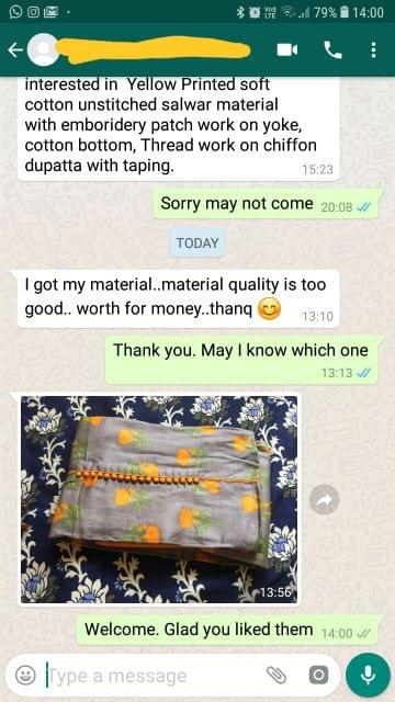 I got the material... Material quality is too good... Worth for money... Thank you. - Reviewed on 27-Feb-2019