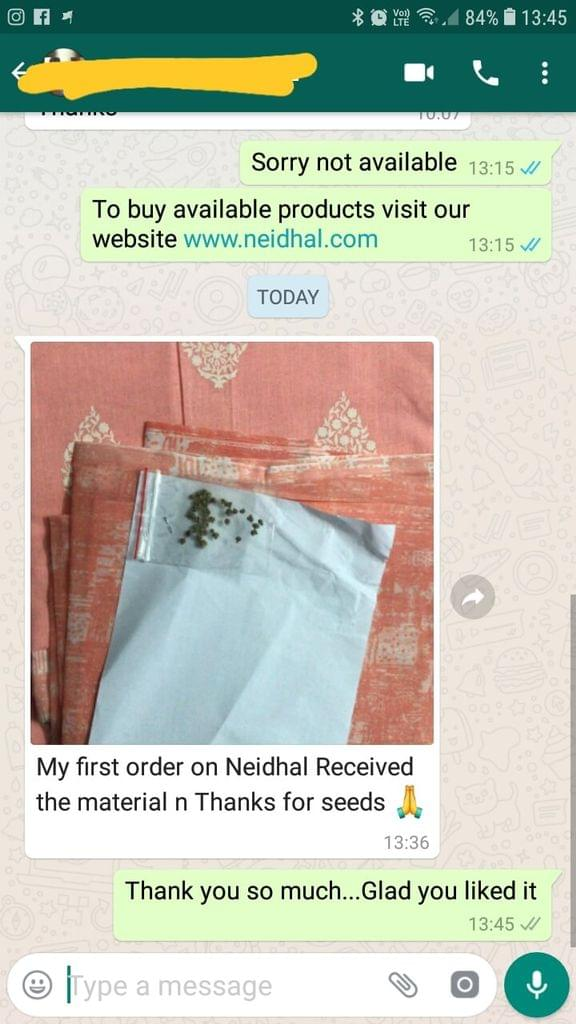 My fist order on Neidhal... Received the material... Thanks for seeds... Thank you so much. - Reviewed on 01-Mar-2019