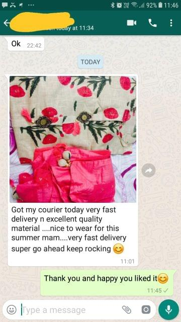 Got my courier today... Very fast delivery in excellent quality material... Nice to wear for this summer... Very fast delivery... Super go ahead keep rocking.  - Reviewed on 01-Mar-2019