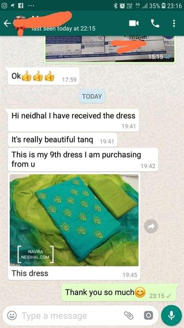 Neidhal I have received the dress... It's really beautiful... Thank you... This is 9th dress... I'am purchasing from you...  This dress.  - Reviewed on 01-Mar-2019